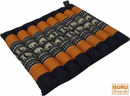Thai Stuhlkissen, Bodenkissen, Sitzunterlage aus Kapok, 35*40 cm - schwarz/orange