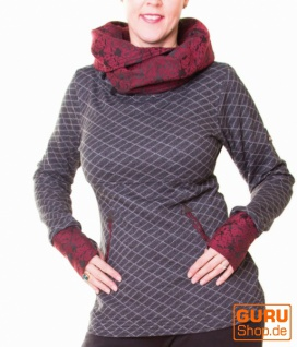 Pullover aus Bio-Baumwolle mit Kapuze / Chapati Design - black/grey