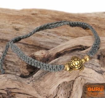 Ethno Schildkröten Perlenarmband, Makramee Armband - grau