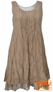 Boho Krinkelkleid, Lagenkleid, Minikleid, Sommerkleid, Strandkleid - camel