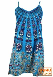 Ethno Minikleid, Boho Trägerkleid im Peacook Design, Strandkleid - türkis