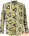 Freizeithemd, Goa Boho Hemd, Langarm Herrenhemd mit afrikanischem Druck, Stehkragenhemd - beige