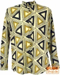 Goa Boho Hemd, Langarm Herrenhemd mit afrikanischem Druck, Stehkragenhemd - beige