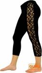 3/4 Psytrance, Goa Damen Leggings, Festival Party Hose mit Spitze - schwarz