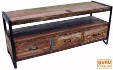 Vintage Fernsehtisch, Sideboard aus Metall und Recyclingholz