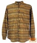 Goa Boho Hemd, Langarm Herrenhemd mit afrikanischem Druck, Stehkragenhemd - curry