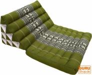 Thaikissen, Dreieckskissen, Kapok, Tagesbett mit 1 Auflage - hennagrün
