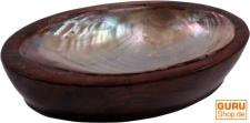 Kokosholz Seifenschale mit Perlmut