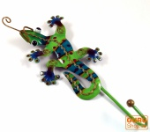 Kleiner Garderobenhaken, Metall Kleiderhaken - Gecko grün