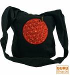 Besticktes Sadhu Bag, Goa Tasche Schulterbeutel - schwarz/rot