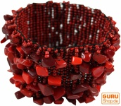 Halbedelstein Armband rot