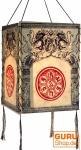 Lokta Papier Hänge-Lampenschirm, Deckenleuchte aus handgeschöpftem Papier - Drachen Mandala weiß