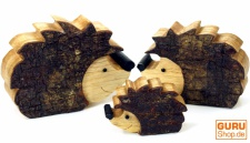 3er Set Kleine Holzfigur, Tierfigur Igel