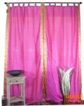 Vorhang, Gardine (1 Paar Vorhänge, Gardinen) aus Sareestoff - pink hell