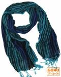 Feiner Baumwollschal mit Streifenmuster in Blautönen