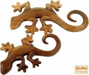 Geschnitztes Wandbild Gecko in 2 Größen - links