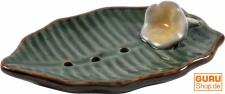 Keramik Seifenschale `Blatt-grün`
