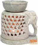 Indische Duftlampe, ätherisches Öl Diffusor, Teelicht Halter für Aromatherapie, Aromalampe aus Speckstein - Ein Elefant
