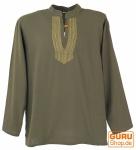 Yoga Hemd bestickt, Goa Shirt - olive/gelb