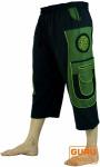 3/4 Yogahose, Goa Hose, Goa Shorts, Herren Shorts - schwarz/grün