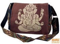 Schultertasche, Hippie Tasche, Goa Tasche Ganesha - braun