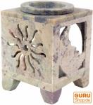 Indische Duftlampe, ätherisches Öl Diffusor, Teelicht Halter für Aromatherapie, Aromalampe aus Speckstein - Würfel Sonne & Mond