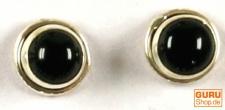 Indische Silber Ohrstecker 2 Onyx