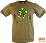 Fun T-Shirt `Der Zauber des Würfels` - braun