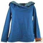 Goa Hoodie mit Schalkragen - enzianblau