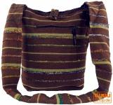 Sadhu Bag gestreift, Goa Tasche, Schulterbeutel - braun