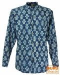 Goa Boho Hemd, Langarm Herrenhemd mit afrikanischem Druck, Stehkragenhemd - indigo