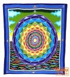 Wandbehang, Wandtuch, Wandbild, Batiktuch - Lotus Mandala blau/grün