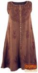 Besticktes Boho Sommerkleid, Midikleid, indisches Hippie Kleid in 7/8 Länge, dattelbraun - Design 1