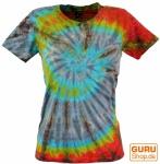 Batik T-Shirt für Damen, Tie Dye Goa Shirt - grau/blau