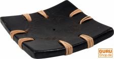 Eckiger Keramik Kerzenhalter, Räucherstäbchenhalter schwarz