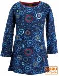 Bestickte Mädchen Tunika, Ethno Minikleid Flora - dunkelblau