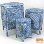 Exotischer Korb mit Deckel in 3 Größen - blau