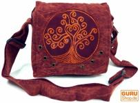 Ethno Schultertasche, Nepaltsche Stonewash `Tree of life`- rostrot