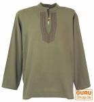 Yoga Hemd bestickt, Goa Shirt - olive/braun