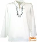 Yoga Hemd bestickt, Goa Shirt - weiß/schwarz