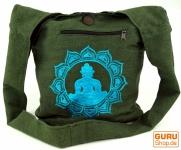 Besticktes Sadhu Bag, Goa Tasche, Schulterbeutel, Schultertasche, Shopper - grün/blau