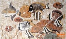 Marmor Mosaik Wandbild für Bad oder Küche mit Maritimen Motiven