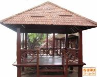 Exclusiver Kokosholz Gartenpavillon mit Geländer + Treppe