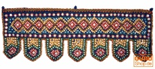 Indischer Wandbehang, Orientalischer Wimpel mit Pilletten, Toran - blau