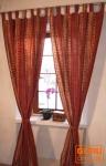 Vorhang, Gardine (1 Paar Vorhänge, Gardinen) mit Schlaufen, handbedruckt, Retro Motiv
