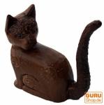 Deko Katze, geschnitzte Ringkatze Nr. 2