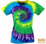 Batik T-Shirt, Tie Dye Goa Shirt - lila/grün