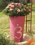 Dekoeimer, Übertopf, Blumenvase aus Metall - groß