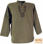 Yoga Hemd bestickt, Goa Shirt - olive/schwarz