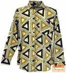 Goa Boho Hemd, Langarm Herrenhemd mit afrikanischem Druck - beige